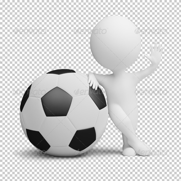 GraphicRiver 3D small people soccer player big ball 4924552