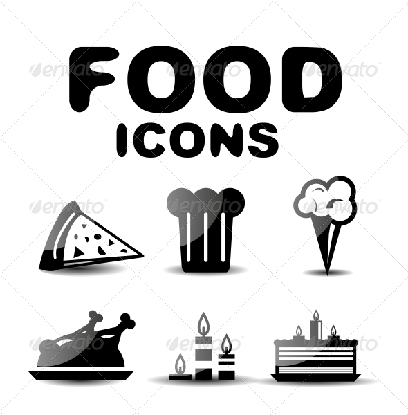 GraphicRiver Food Black Glossy Icon Set 4924586
