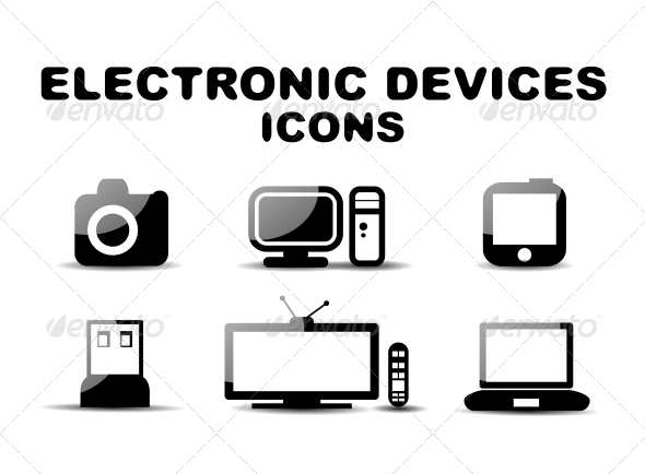 GraphicRiver Black Glossy Electronic Devices Icon Set 4924609