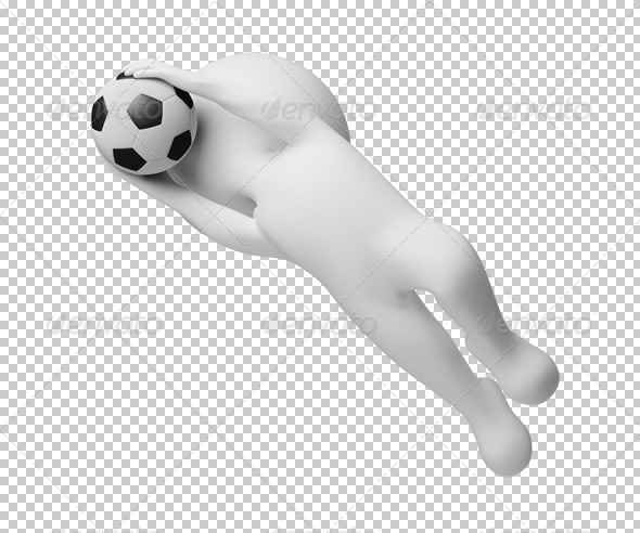 GraphicRiver 3D small people goalkeeper a catching ball 4924732