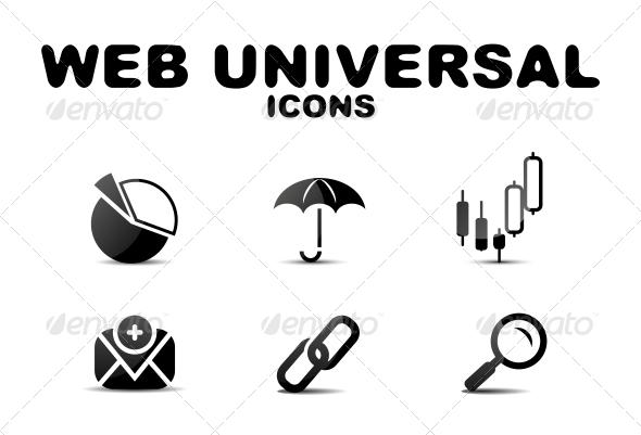 GraphicRiver Black Glossy Web Universal Icon Set 4924843