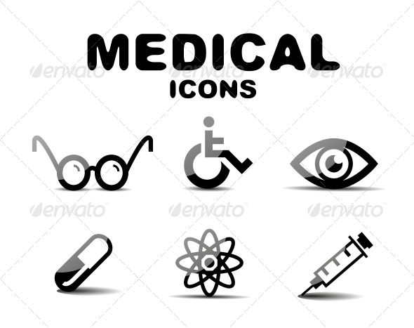 GraphicRiver Black Glossy Medical Icon Set 4924849