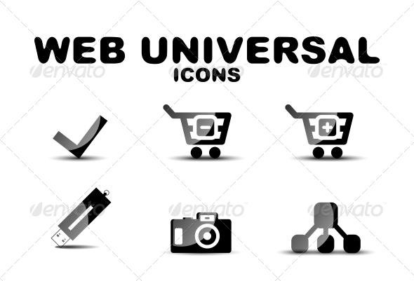GraphicRiver Black Glossy Web Universal Icon Set 4924980