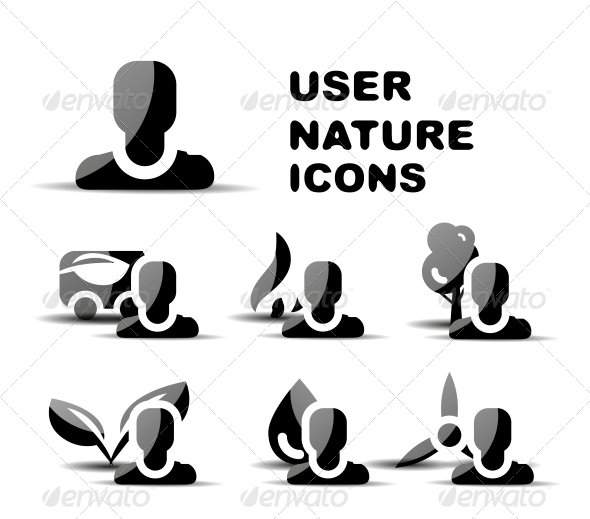 GraphicRiver Black User Nature Glossy Icon Set 4925021