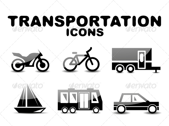 GraphicRiver Black Glossy Transportation Icon Set 4925098