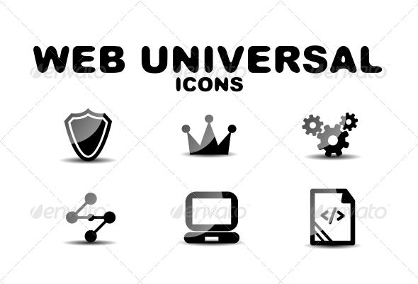 GraphicRiver Black Glossy Web Universal Icon Set 4925122