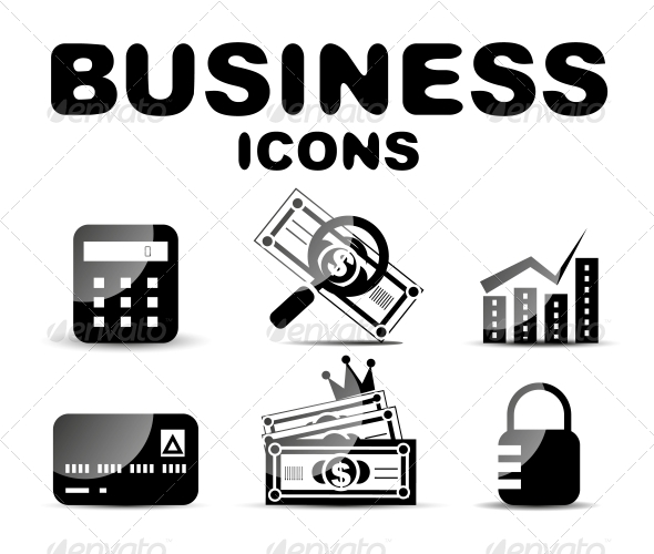 GraphicRiver Black Glossy Business Icon Set 4925195