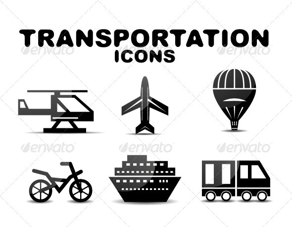 GraphicRiver Black Glossy Transportation Icon Set 4925216