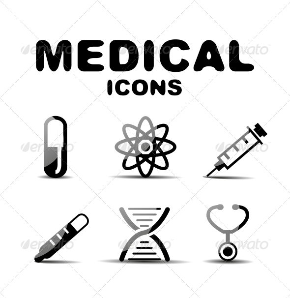 GraphicRiver Black Glossy Medical Icon Set 4925217