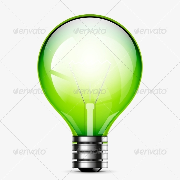 GraphicRiver Green Light Bulb Icon Isolated on White 4925304
