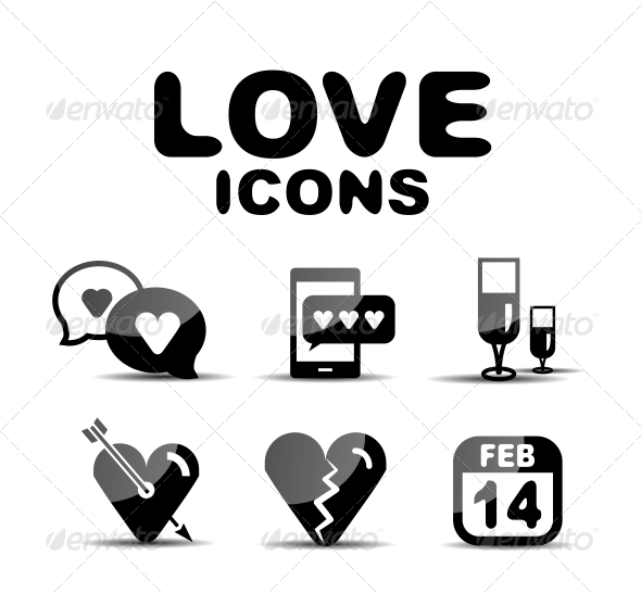 GraphicRiver Love Glossy Icon Set Vector Illustration 4925337