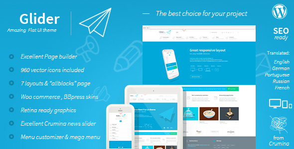 ThemeForest Glider Clean & Powerful Flat stylish theme 4883460