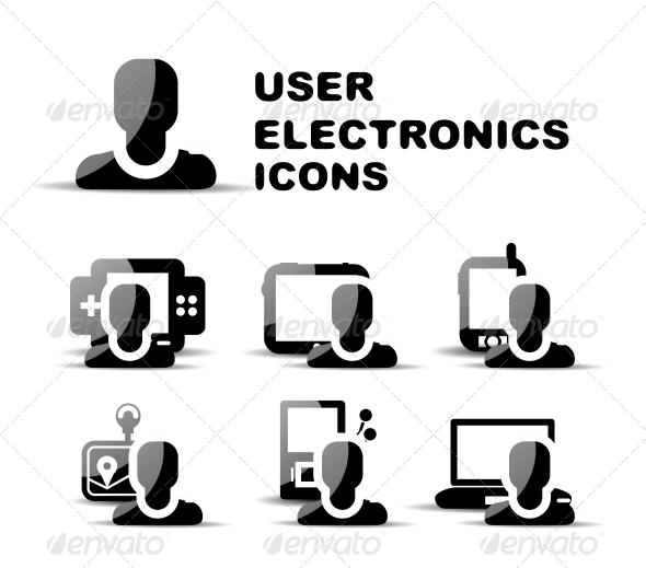 Black user electronics glossy icon set