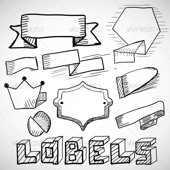 GraphicRiver Hand Drawn Labels and Design Elements Doodles 4925415
