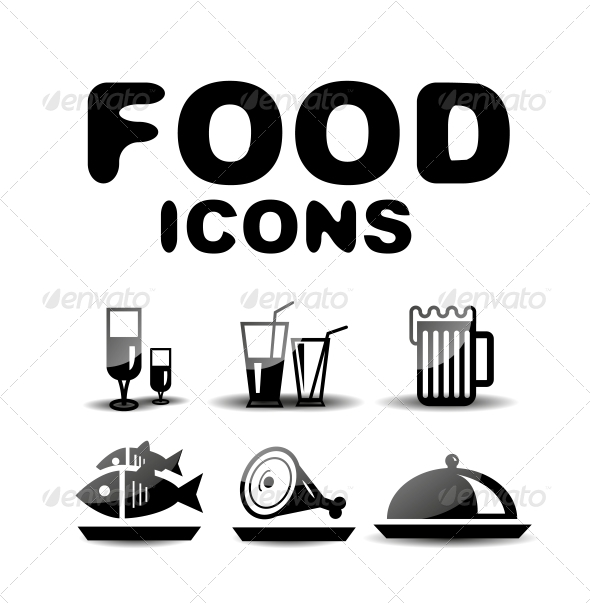 GraphicRiver Food Black Glossy Icon Set 4925429