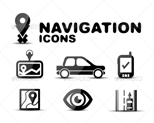 Navigation Glossy Black Icon Set