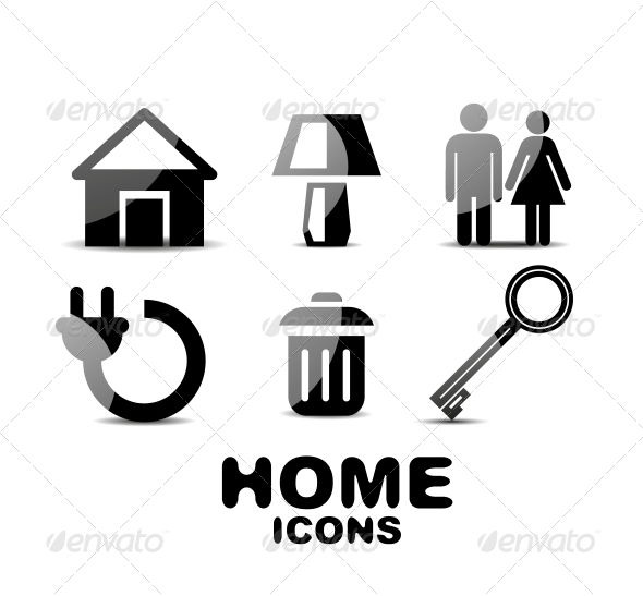GraphicRiver Black Glossy Home Icons 4925513