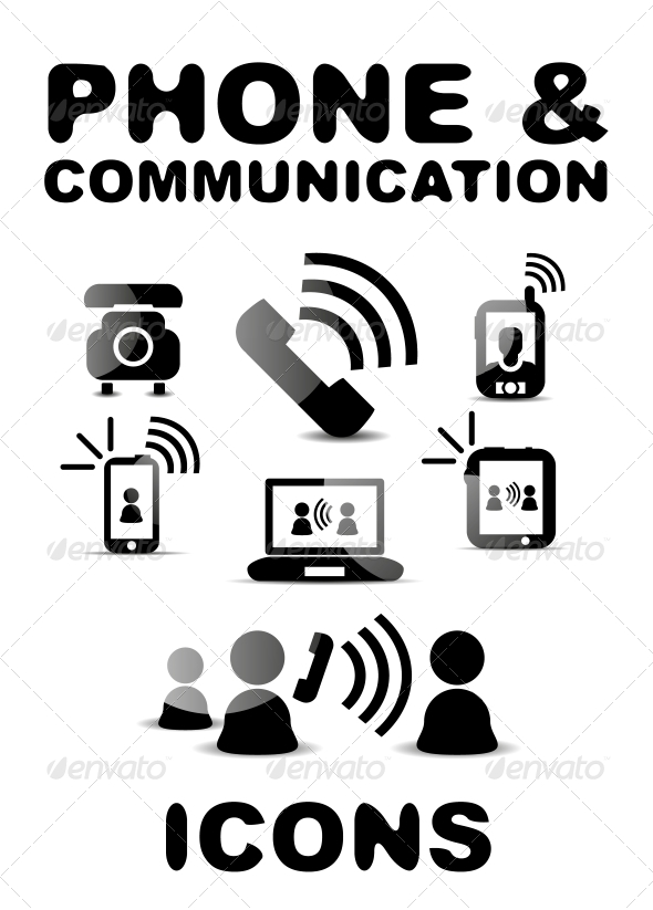 GraphicRiver Black Glossy Phone Communication Icon Set 4925551