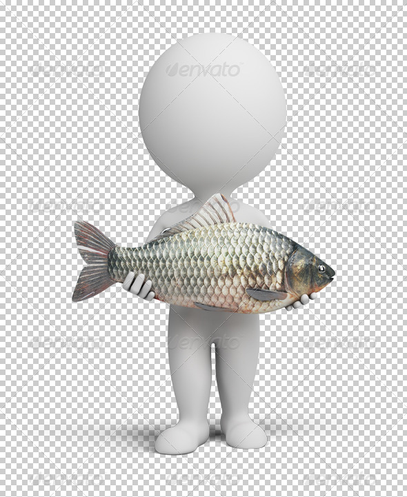 GraphicRiver 3D small people fisherman and fish 4925637
