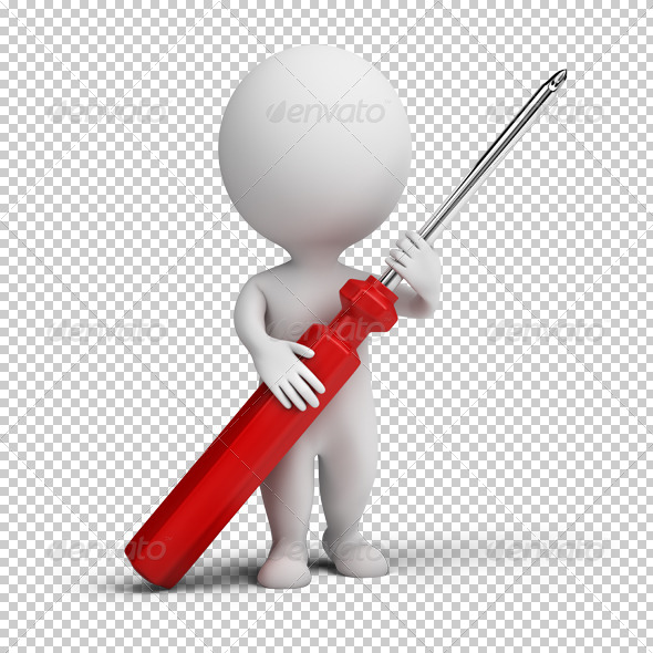 GraphicRiver 3D small people screw-driver 4925734