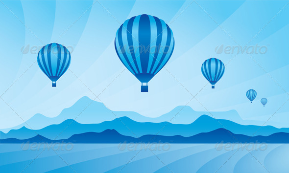 GraphicRiver Air Balloon in the Sky Vector Skyline Illustration 4925791