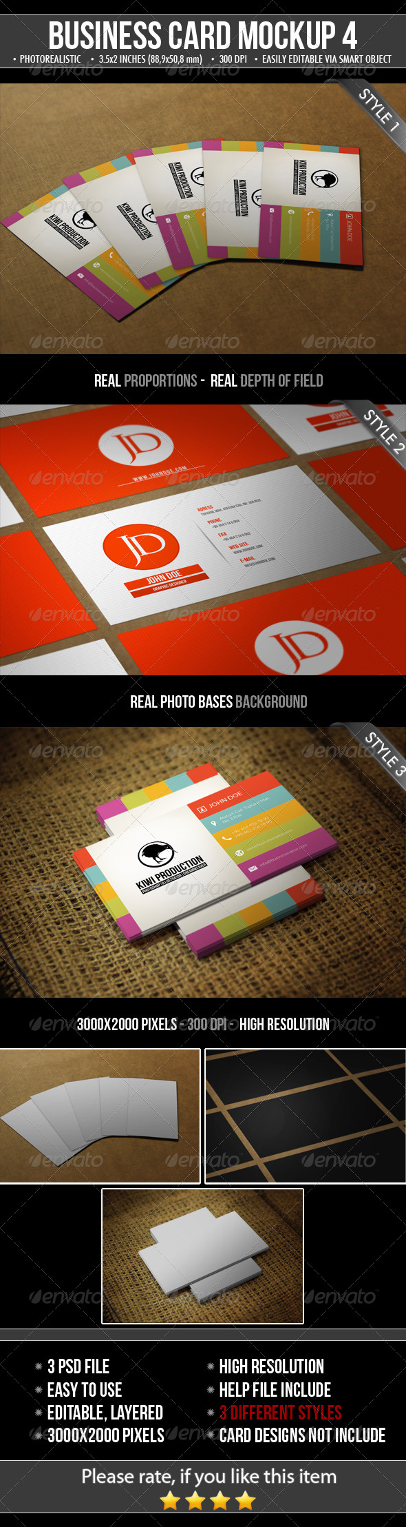 GraphicRiver 3 Realistic Business Card Mock-Up 4925796