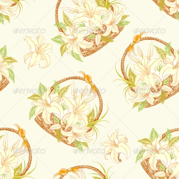 GraphicRiver Seamless pattern with basket of blooming lilies 4925797