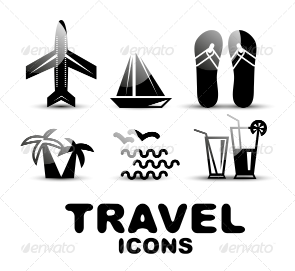 GraphicRiver Black Glossy Travel Icon Set 4926073