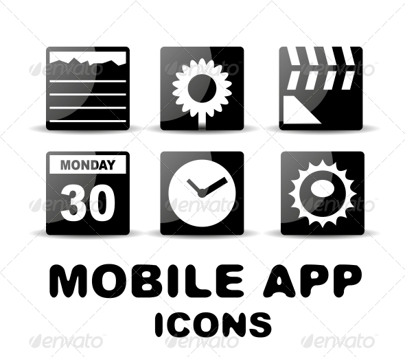 GraphicRiver Black Glossy Square Mobile App Icons 4926510