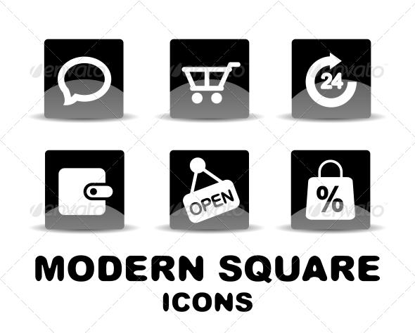 GraphicRiver Modern Glossy Black Square Icon Set 4926511