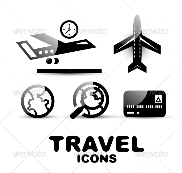 GraphicRiver Black Glossy Travel Icon Set 4926516