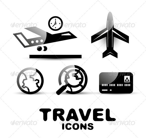 GraphicRiver Black Glossy Travel Icon Set 4926516