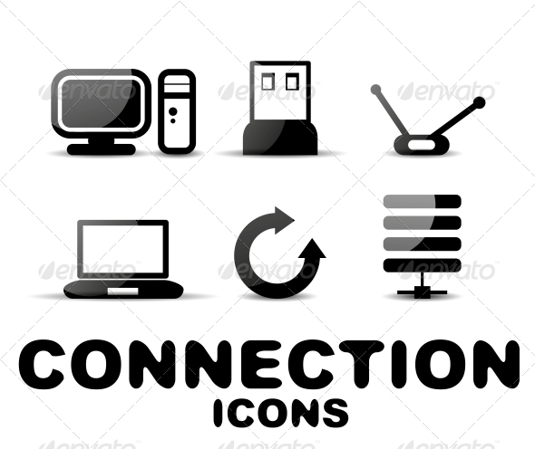 GraphicRiver Cloud Connection Glossy Black Icon Set 4926875