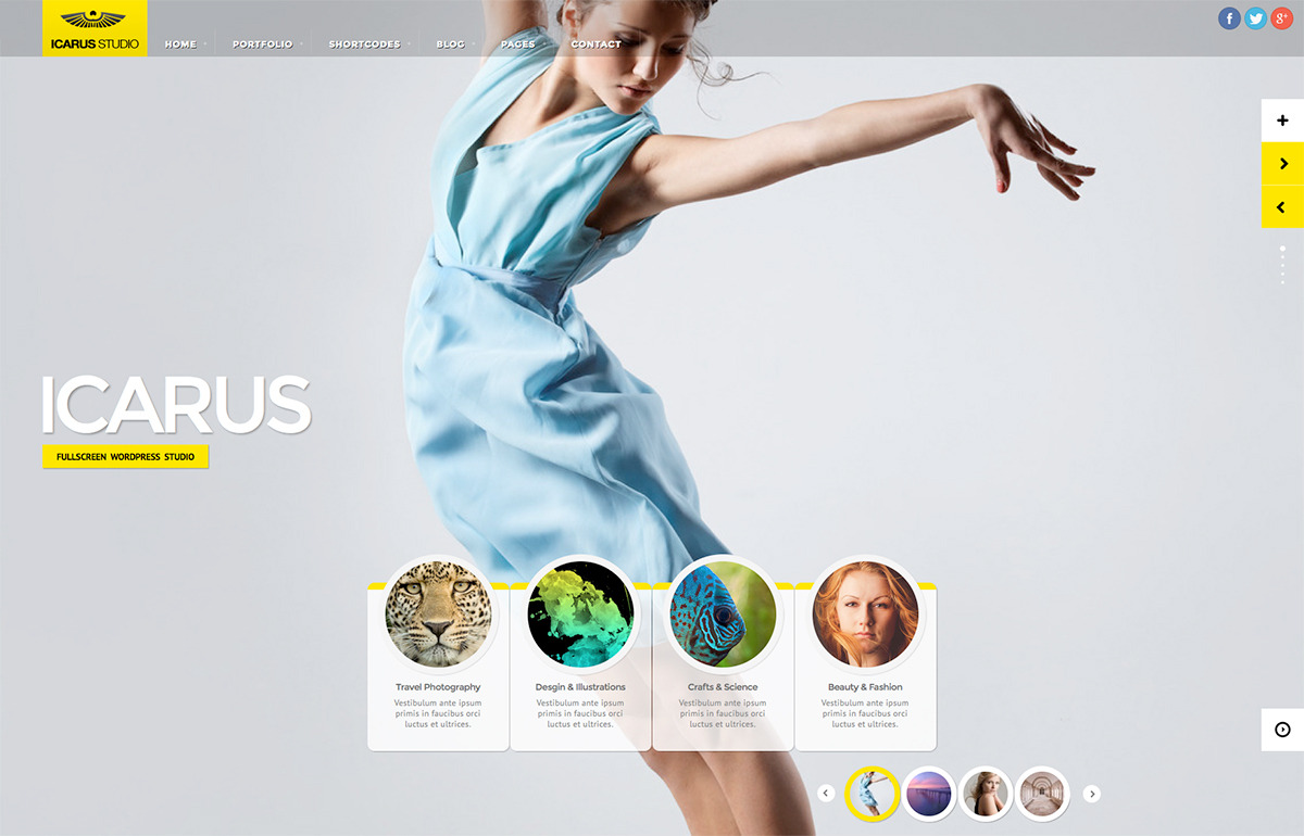 iCarus Fullscreen Studio for WordPress