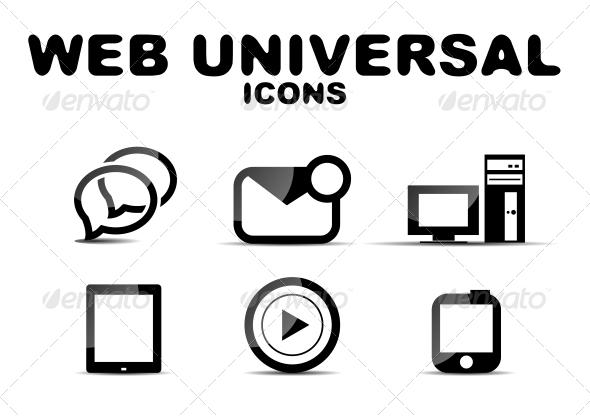 GraphicRiver Black Glossy Web Universal Icon Set 4927480