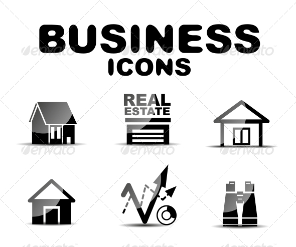GraphicRiver Black Glossy Business Icon Set 4927509