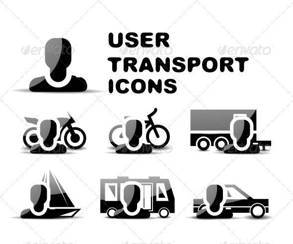 Black User Transport Glossy Icon Set