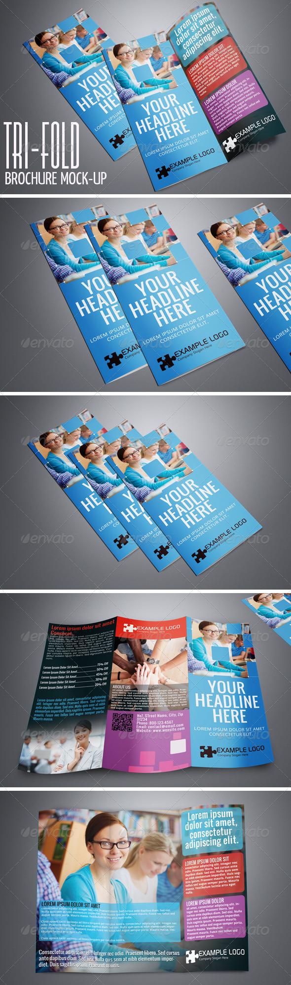 GraphicRiver Photorealistic Tri-Fold A4 Brochure Mock-up Vol.2 4927686