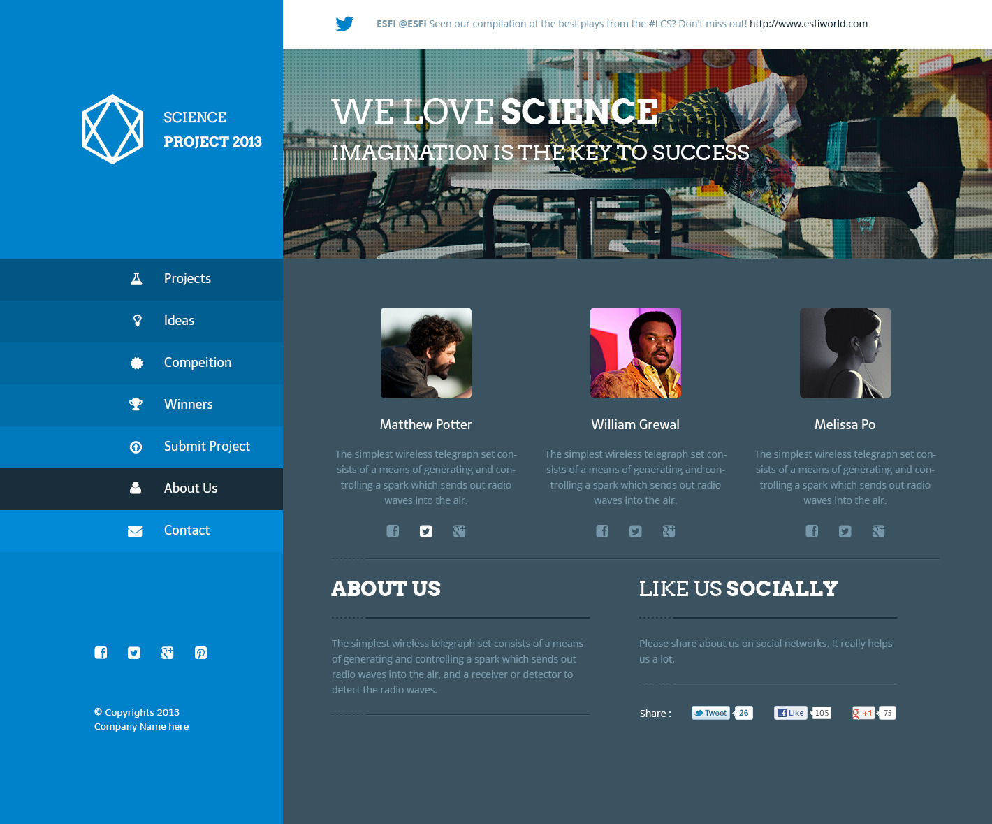 Science Project PSD Template by azyrusmax | ThemeForest