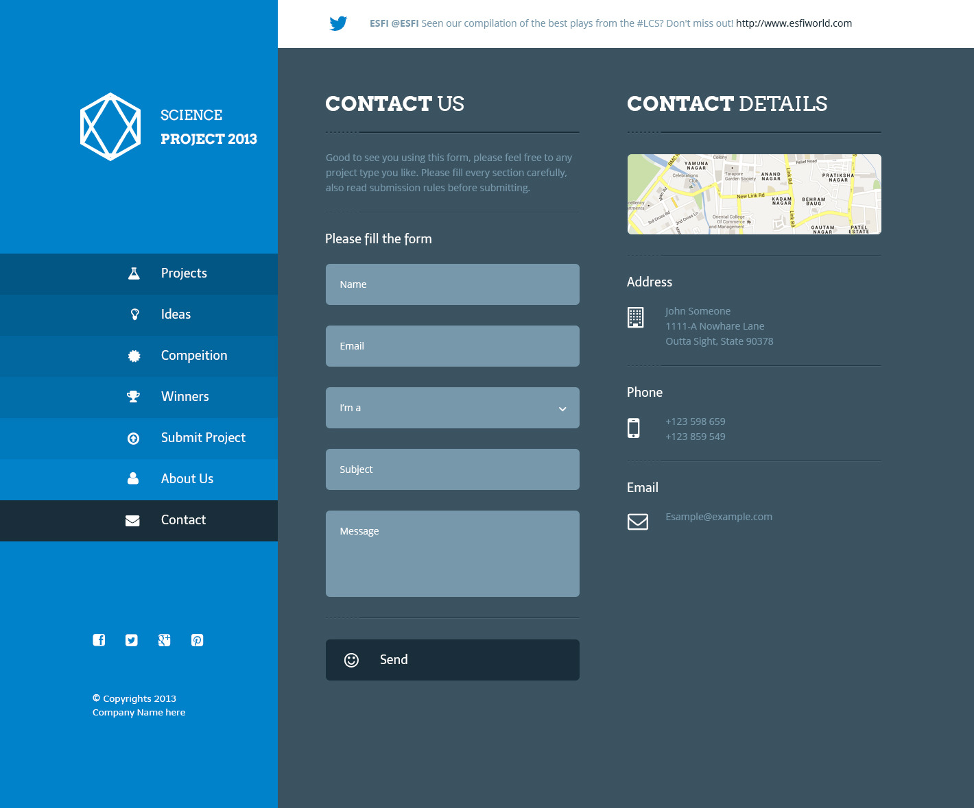 contact us php template - science project psd template by azyrusmax themeforest