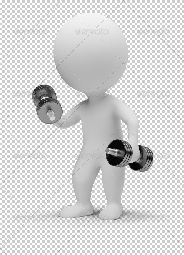 GraphicRiver 3D small people dumbbells 4927793