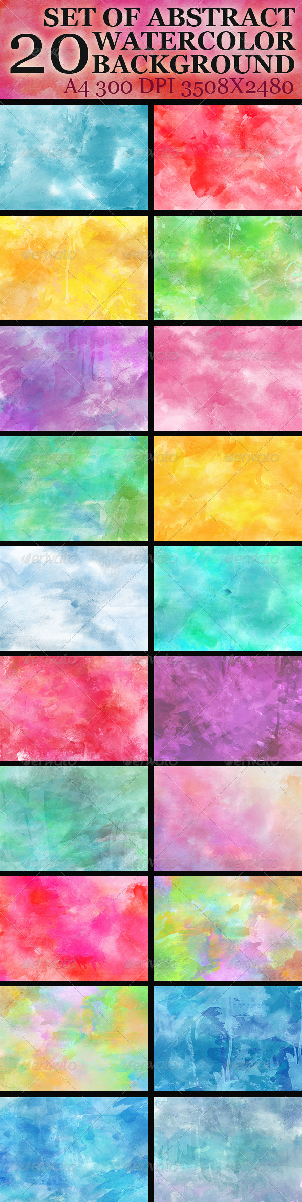 GraphicRiver Set of 20 abstract watercolor background 4927980