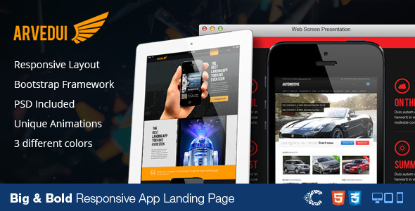 ThemeForest Arvedui Big Responsive Landing Page Template 4928326