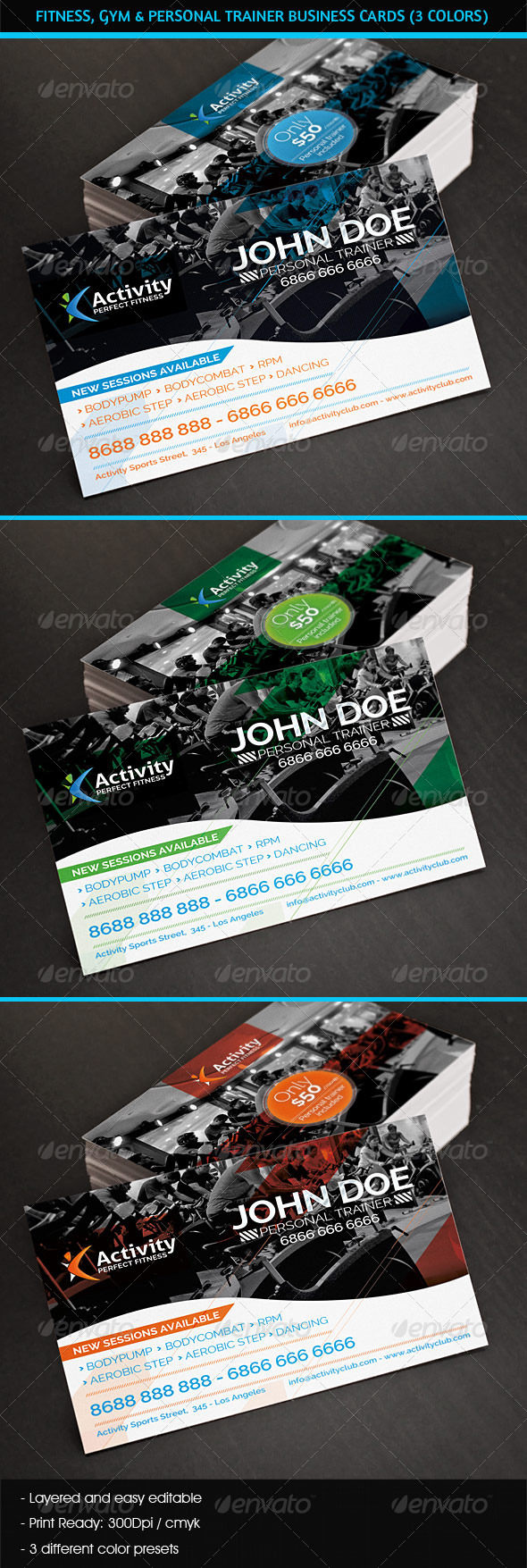 GraphicRiver Fitness Gym & Personal Trainer Business Cards 4928616