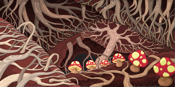 GraphicRiver Underground with Roots and Mushrooms 4929489
