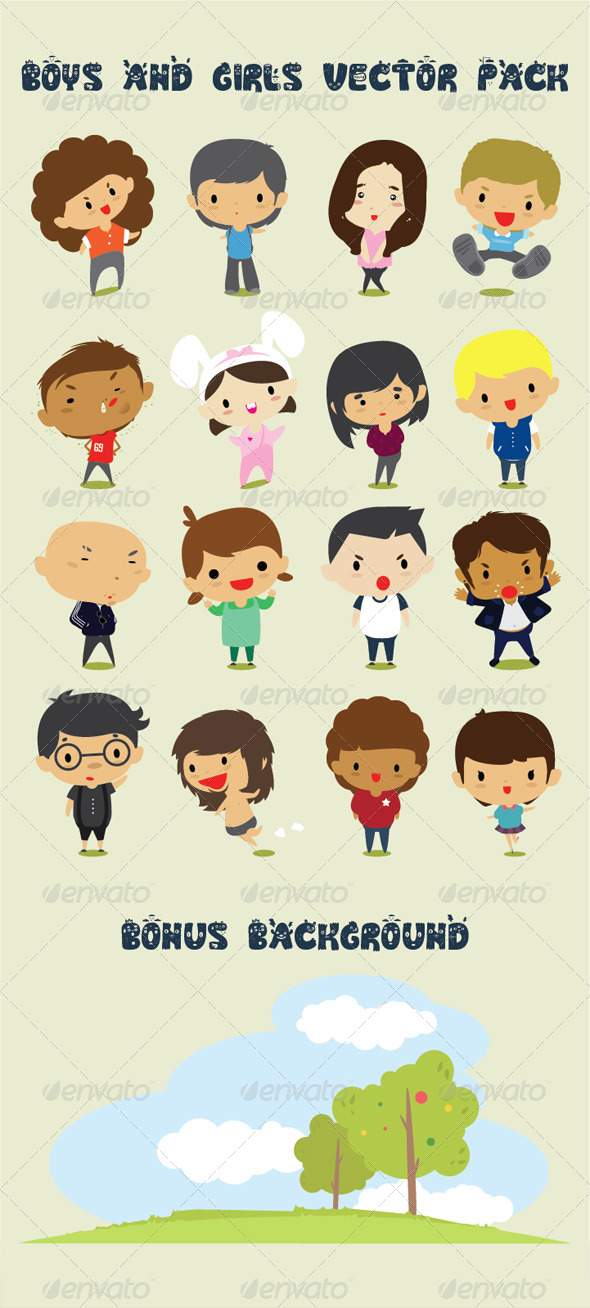 GraphicRiver Boys & Girls Character Design Vector Pack 4904866