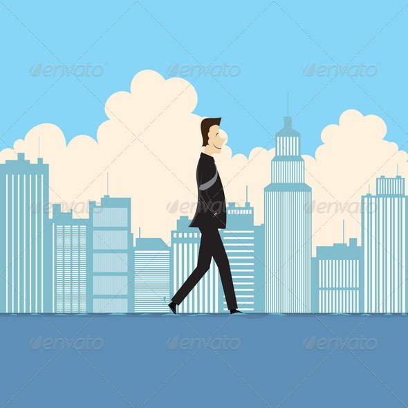 GraphicRiver Businessman Walking on Water 4929600