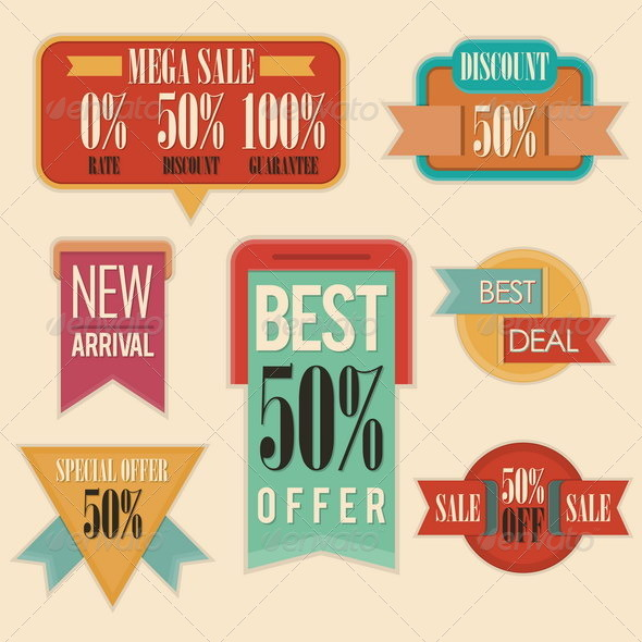 GraphicRiver Retro Sale Commercial Signs 4929966