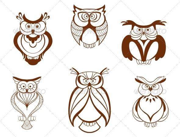 GraphicRiver Set of Cartoon Owl Birds 4930202