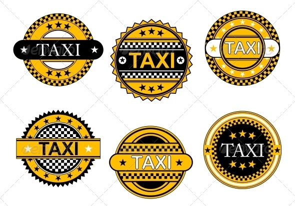 Taxi Service Emblems and Signs - Decorative Symbols Decorative